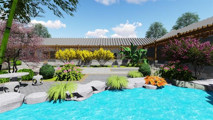中式四合院庭院花园景观设计su模型(7)