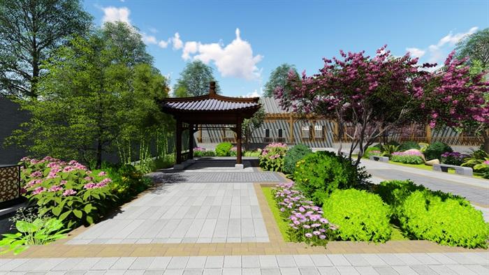 中式四合院庭院花园景观设计su模型(8)