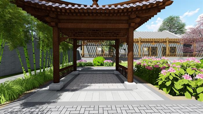 中式四合院庭院花园景观设计su模型(9)