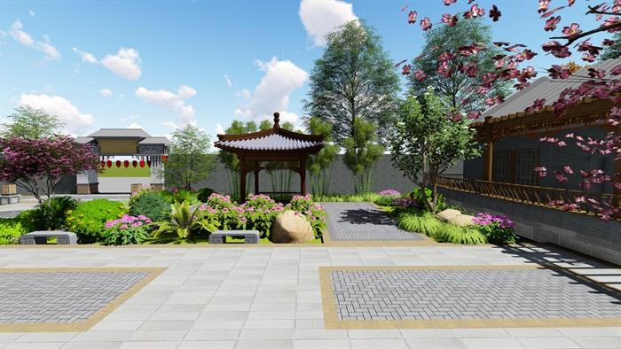 中式四合院庭院花园景观设计su模型(12)