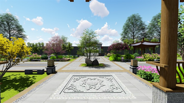 中式四合院庭院花园景观设计su模型(13)