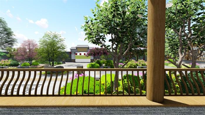 中式四合院庭院花园景观设计su模型(14)