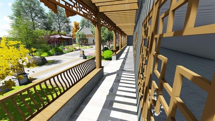 中式四合院庭院花园景观设计su模型(15)
