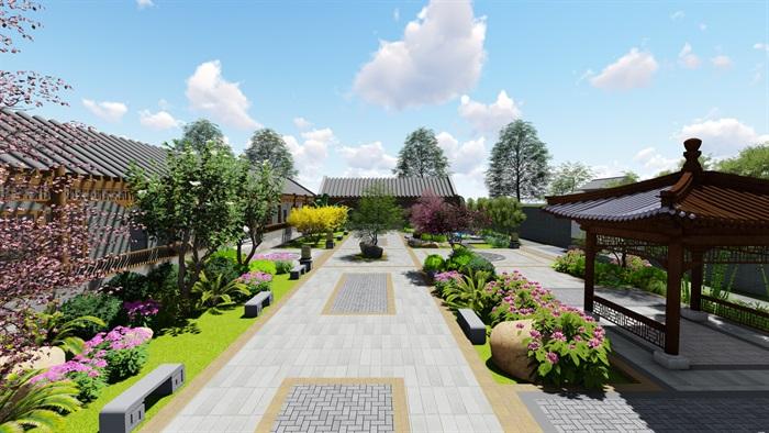 中式四合院庭院花园景观设计su模型(16)