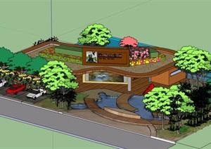 现代风格详细的单层滨水餐厅建筑设计SU(草图大师)模型