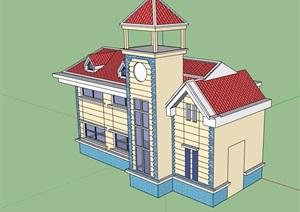 欧式风格详细的两层办公建筑楼SU(草图大师)模型