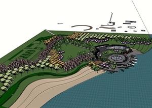 某現代風格河濱公園詳細的景觀設計SU(草圖大師)模型