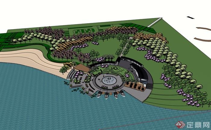 某现代风格河滨公园详细的景观设计su模型