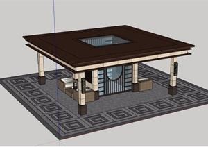 某详细的休闲亭子素材设计SU(草图大师)模型