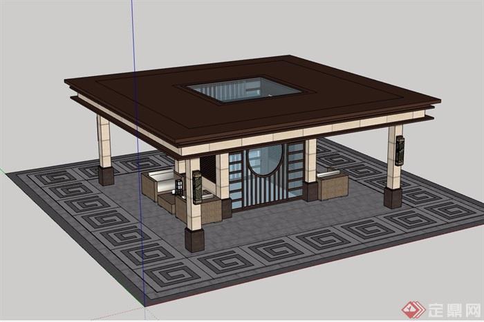 某详细的休闲亭子素材设计su模型