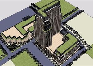 某详细的完整高层办公建筑楼设计SU(草图大师)模型