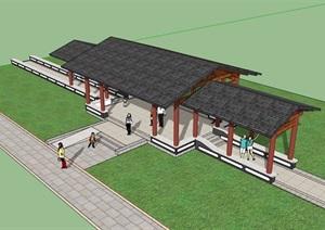 古典中式风格详细的廊架素材设计SU(草图大师)模型