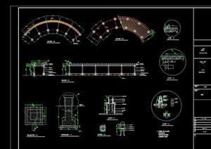 现代风格弧形廊架素材设计cad施工图