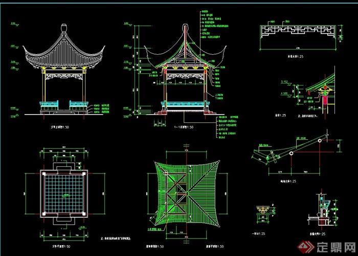古典中式风格翘脚凉亭素材设计cad施工图
