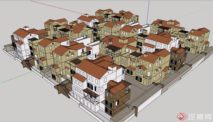 某欧式风模型别墅住宅小区双拼v模型su多层别墅图片壁纸图片