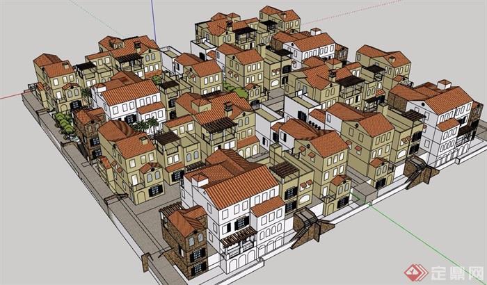 某欧式风外墙石材住宅小区别墅v外墙su模型多层别墅视频柱双拼装饰安装图片