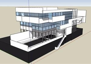 现代风格多层办公建筑楼设计SU(草图大师)模型