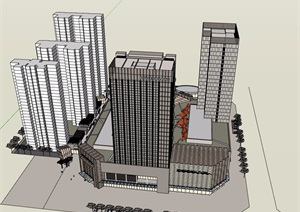 某现代风格详细的完整商业办公完整建筑设计SU(草图大师)模型