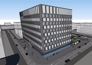 现代风格详细的完整办公大厦建筑设计SU(草图大师)模型