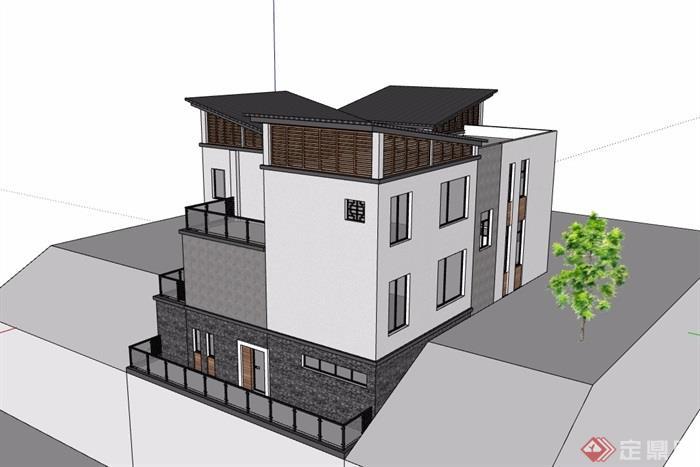 中式风格详细的完整别墅设计su模型