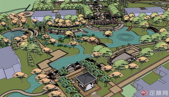 某欧式风格详细的住宅小区景观su模型