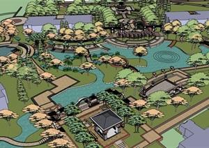 某欧式风格详细的住宅小区景观SU(草图大师)模型