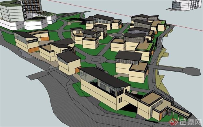 简约中式风格详细的住宅别墅设计su模型