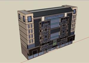 现代风格详细的商业住宅综合楼SU(草图大师)模型
