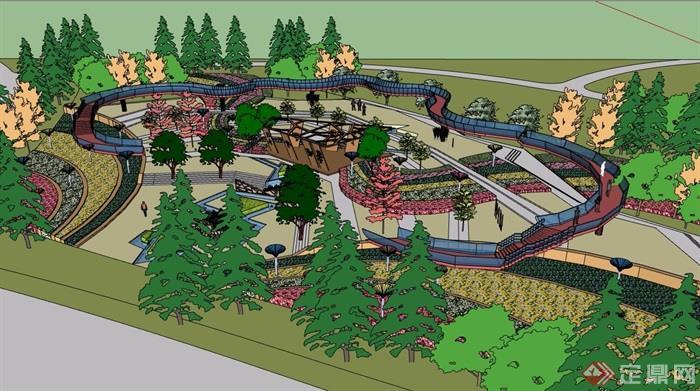 某现代风格详细的完整公园景观素材设计su模型