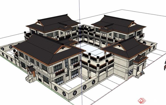 古典中式风格详细的文化展览馆建筑设计su模型