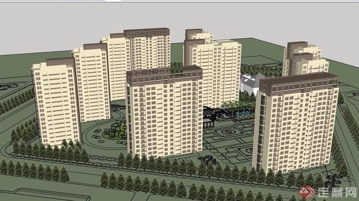 新古典风格详细的住宅小区建筑楼su模型