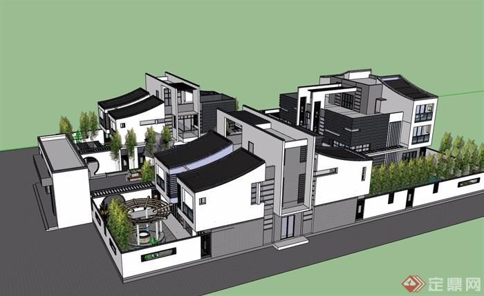 中式风格详细的合院别墅设计su模型