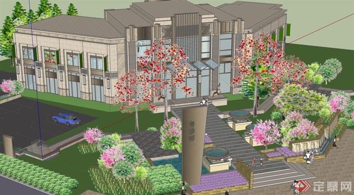 新古典风格详细的完整售楼处建筑设计su模型