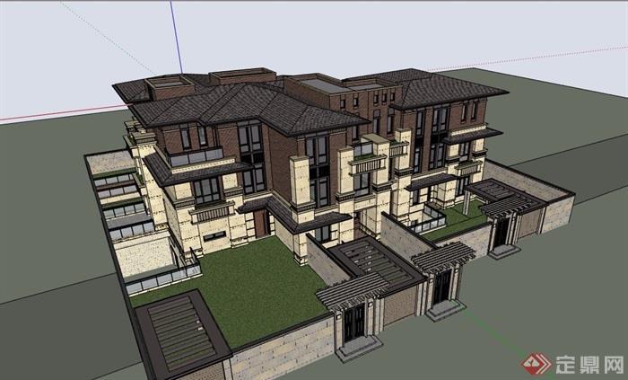 欧式风格详细的完整住宅别墅设计su模型