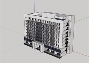 现代风格详细的多层办公楼SU(草图大师)模型