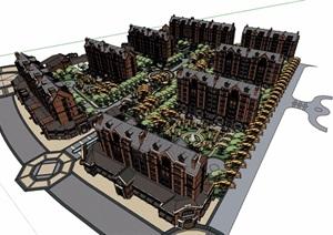 欧式风格详细的商业住宅小区建筑楼设计SU(草图大师)模型
