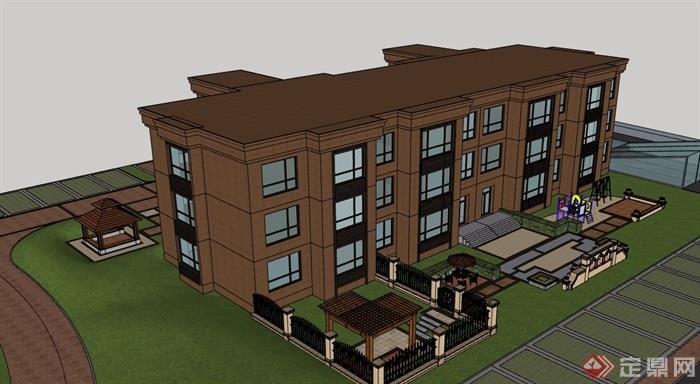 现代风格三层详细的幼儿园建筑设计su模型