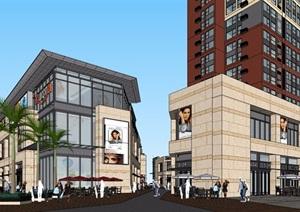 现代风格详细的完整商业住宅楼SU(草图大师)模型