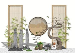 新中式景觀小品 栓馬柱 松樹 枯枝 片石假山 佛像組合SU(草圖大師)模型