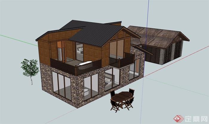 中式私人民居住宅别墅设计su模型