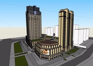 某详细的商业住宅高层建筑楼设计SU(草图大师)模型