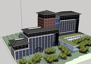 一个中医院里的后勤楼建筑SU(草图大师)模型