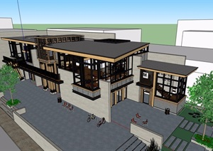 现代风格详细的设计工作室办公楼SU(草图大师)模型