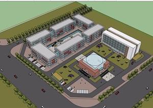 产业基地办公详细的建筑楼设计SU(草图大师)模型