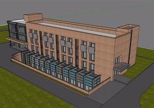 三层现代风格办公建筑楼SU(草图大师)模型