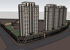 新古典风格详细的商住楼SU(草图大师)模型