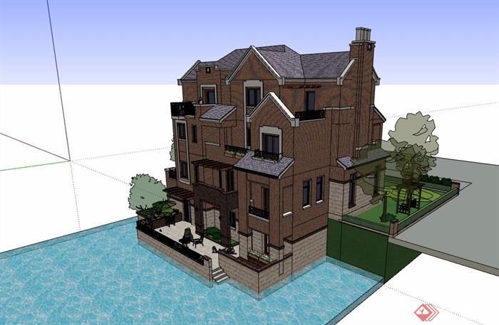 欧式风格独栋住宅别墅设计su模型