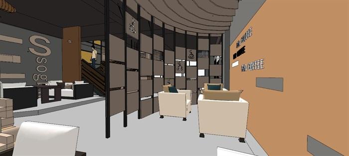 现代轻奢简约休闲风两层咖啡馆咖啡厅休闲室(3)