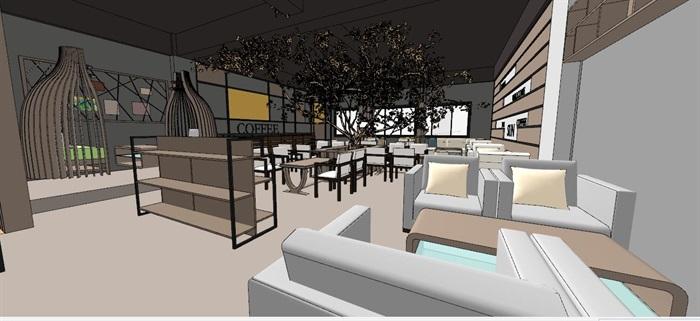 现代轻奢简约休闲风两层咖啡馆咖啡厅休闲室(7)