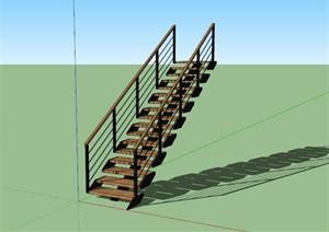 现代创意钢木连续造型楼梯